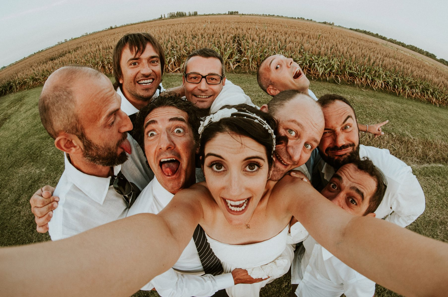Fisheye bride portrait in Firenze