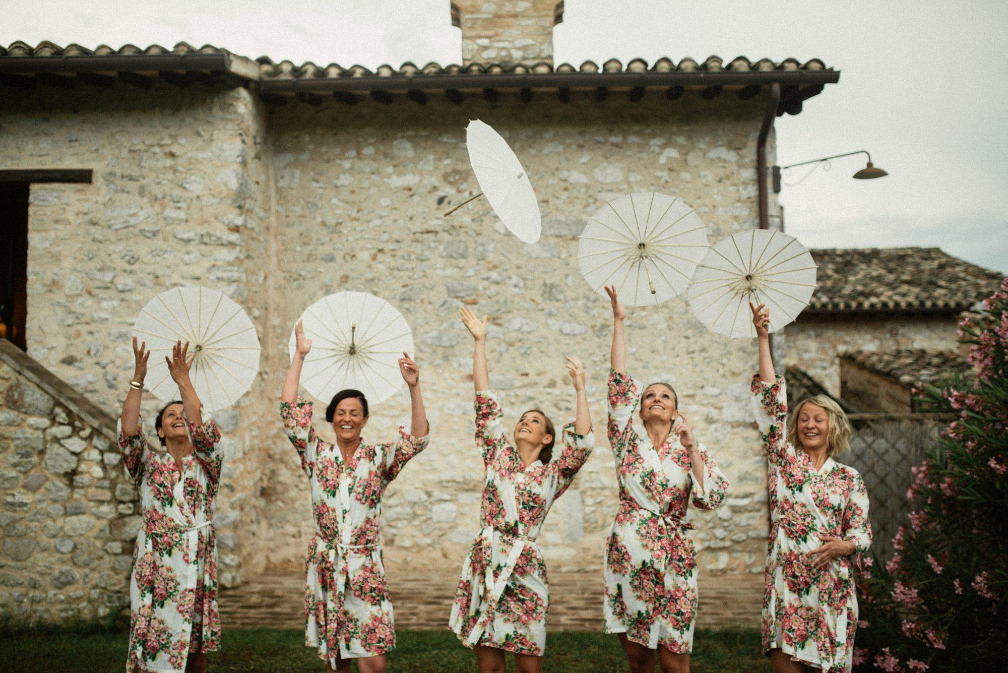 Bridesmaids having fun in Umbria
