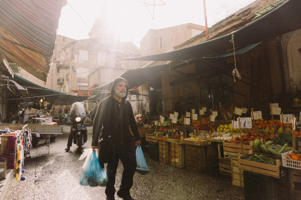 Sicilian in a market in Palermo