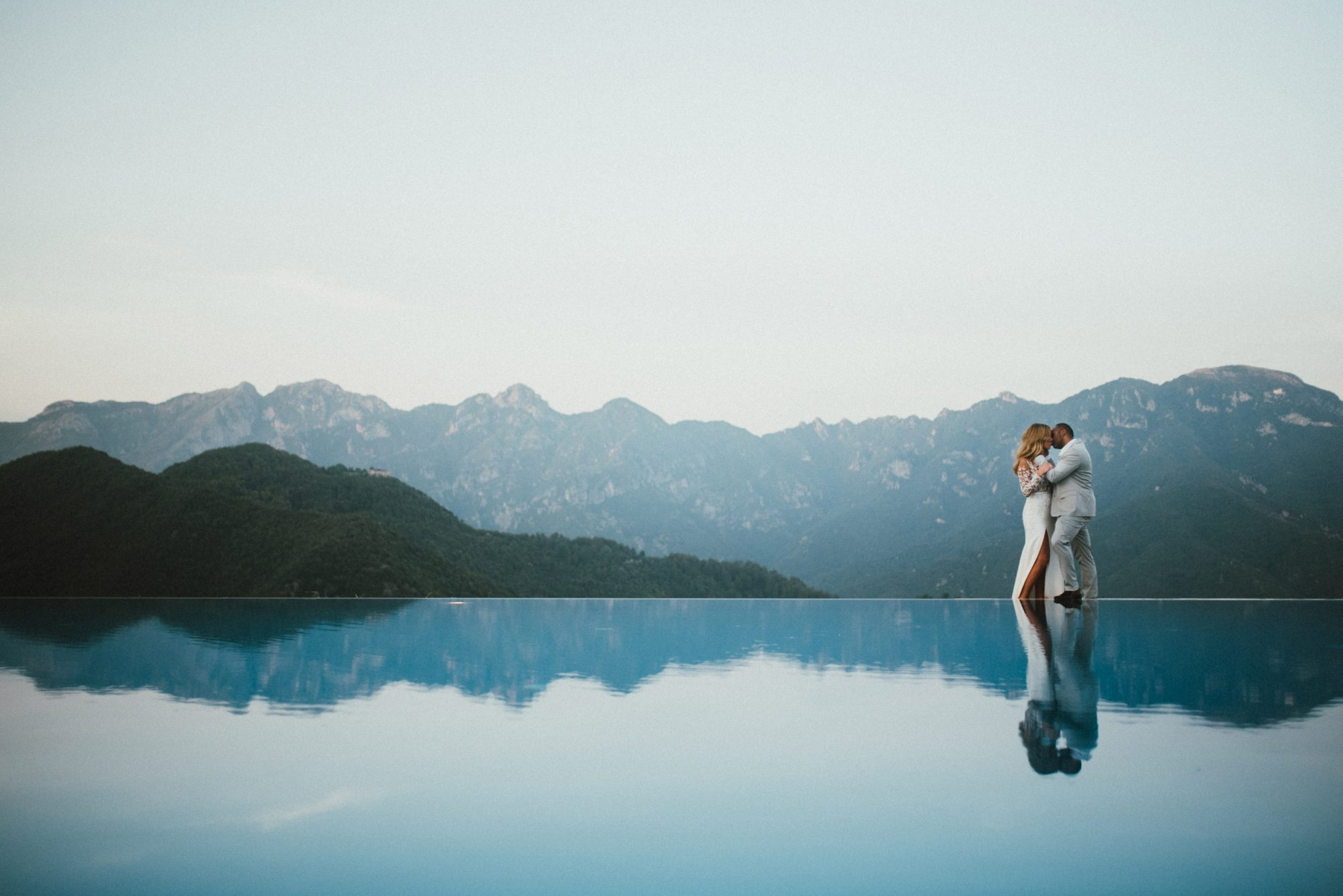 Elopement in the Belmond Caruso infinity pool